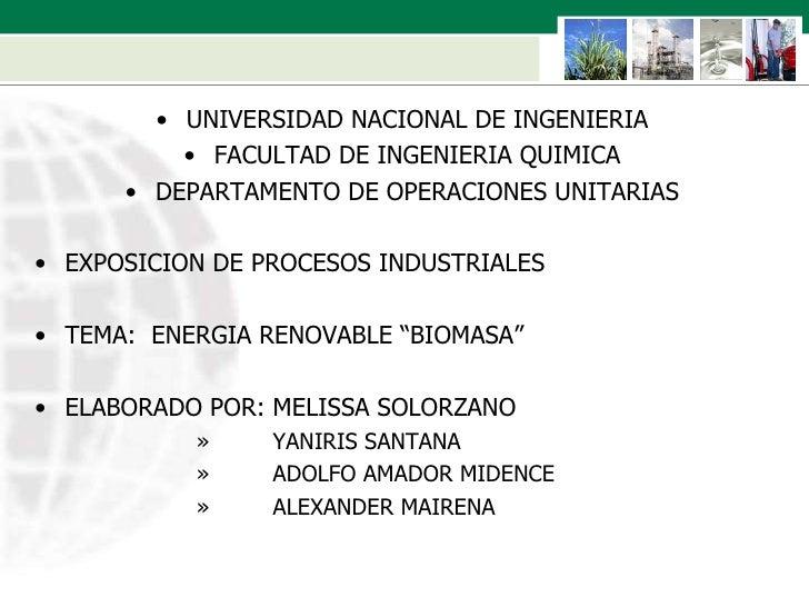 <ul><li>UNIVERSIDAD NACIONAL DE INGENIERIA </li></ul><ul><li>FACULTAD DE INGENIERIA QUIMICA </li></ul><ul><li>DEPARTAMENTO...