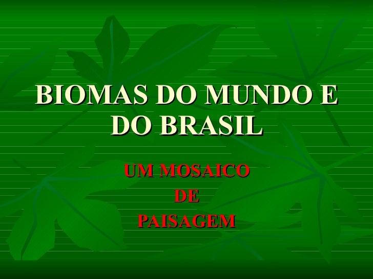 BIOMAS DO MUNDO E DO BRASIL UM MOSAICO DE PAISAGEM
