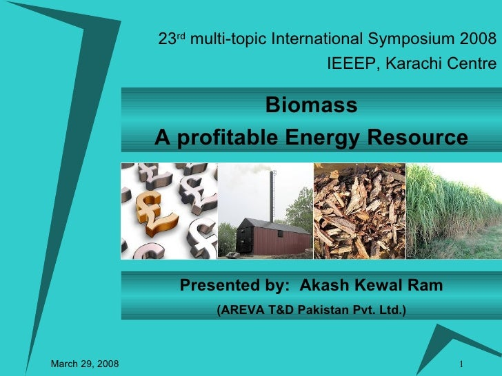 23 rd  multi-topic International Symposium 2008 March 29, 2008 IEEEP, Karachi Centre Biomass A profitable Energy Resource ...