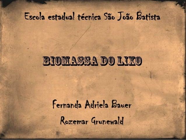 Fernanda Adriela Bauer Rozemar Grunewald Escola estadual técnica São João Batista