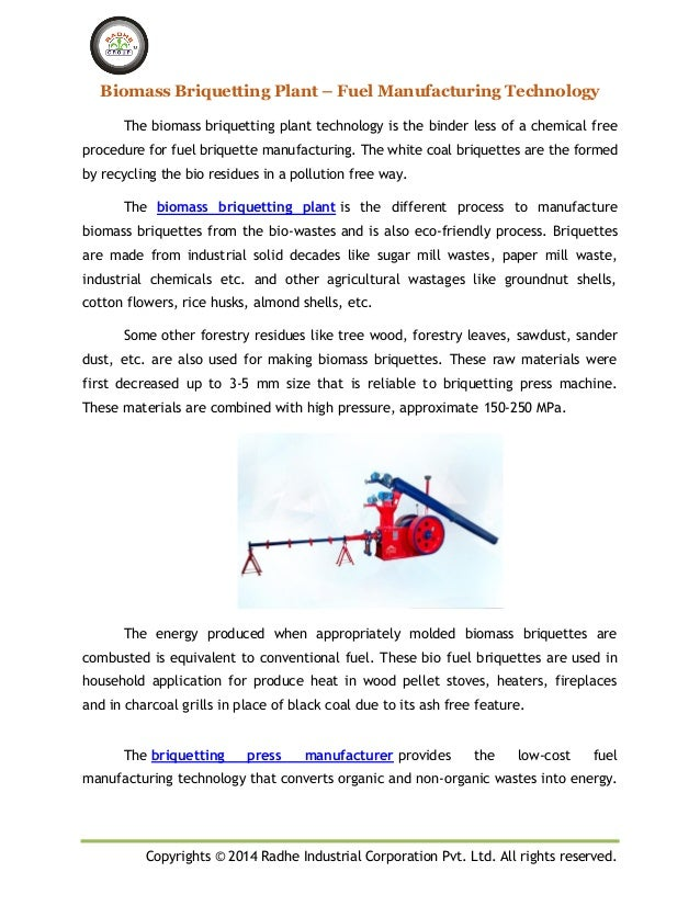 Copyrights © 2014 Radhe Industrial Corporation Pvt. Ltd. All rights reserved. Biomass Briquetting Plant – Fuel Manufacturi...