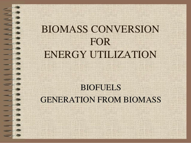 BIOMASS CONVERSION FOR ENERGY UTILIZATION BIOFUELS GENERATION FROM BIOMASS