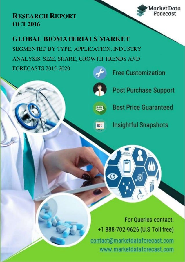 RESEARCH REPORT OCT 2016 GLOBAL BIOMATERIALS MARKET SEGMENTED BY TYPE, APPLICATION, INDUSTRY ANALYSIS, SIZE, SHARE, GROWTH...