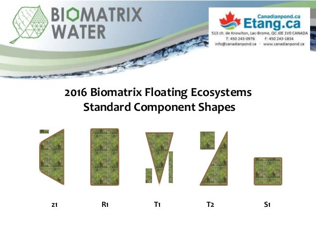 2016 Biomatrix Floating Ecosystems Standard Component Shapes z1 R1 T1 T2 S1