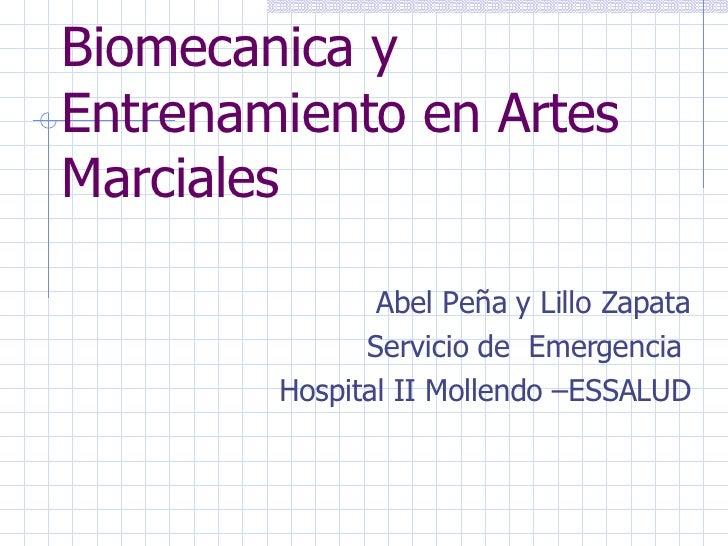 Biomecanica y Entrenamiento en Artes Marciales <ul><li>Abel Peña y Lillo Zapata </li></ul><ul><li>Servicio de  Emergencia ...