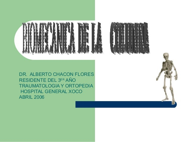 DR. ALBERTO CHACON FLORES  RESIDENTE DEL 3ER AÑO  TRAUMATOLOGIA Y ORTOPEDIA  HOSPITAL GENERAL XOCO  ABRIL 2006