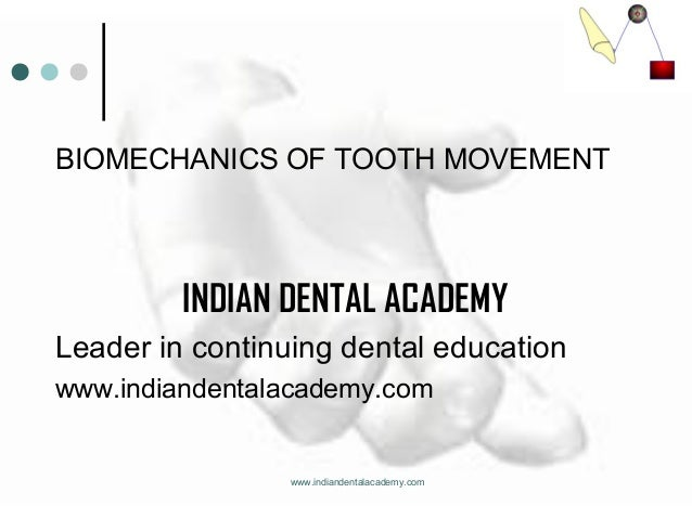 BIOMECHANICS OF TOOTH MOVEMENT  INDIAN DENTAL ACADEMY Leader in continuing dental education www.indiandentalacademy.com  w...
