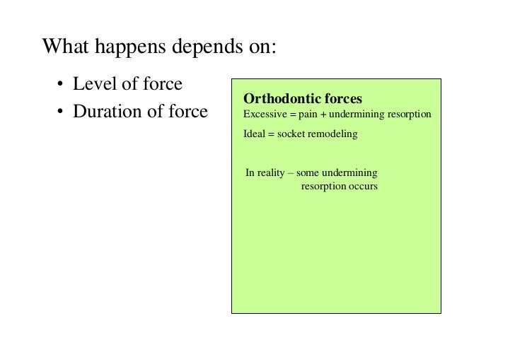 What happens depends on: • Level of force                       Orthodontic forces • Duration of force   Excessive = pain ...
