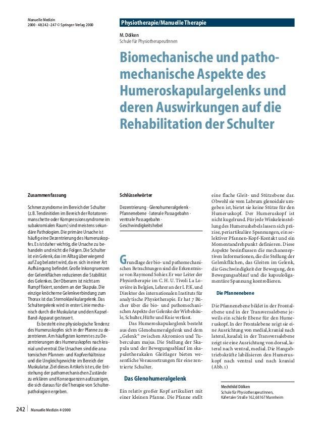 Physiotherapie/Manuelle Therapie | Manuelle Medizin 4•2000242 Zusammenfassung Schmerzsyndrome im Bereich der Schulter (z.B...