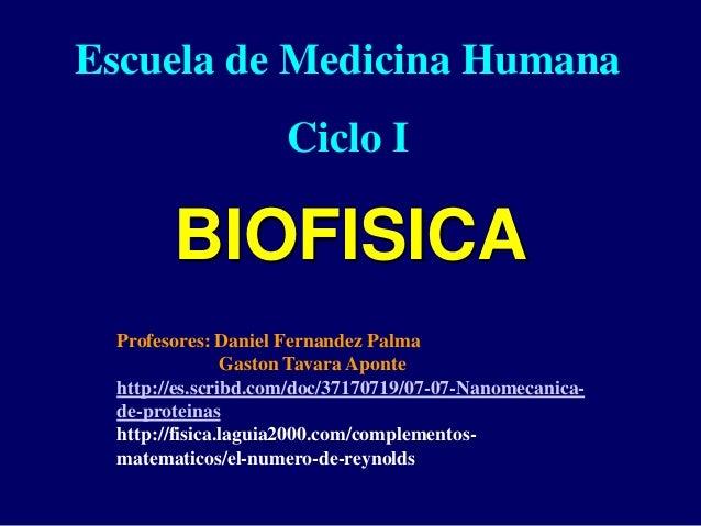 BIOFISICA Escuela de Medicina Humana Ciclo I Profesores: Daniel Fernandez Palma Gaston Tavara Aponte http://es.scribd.com/...