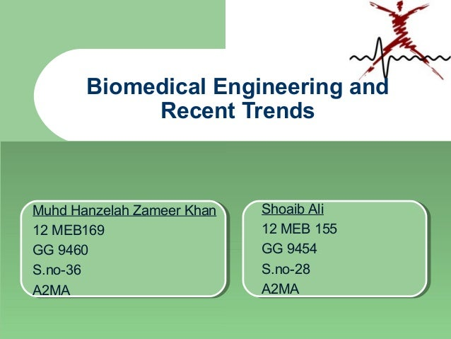 Biomedical Engineering and Recent Trends Muhd Hanzelah Zameer Khan 12 MEB169 GG 9460 S.no-36 A2MA Shoaib Ali 12 MEB 155 GG...