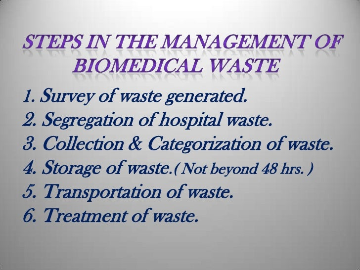 suggestive measures for bio medical waste disposal Infection prevention,standard safety measures and biomedical waste management.