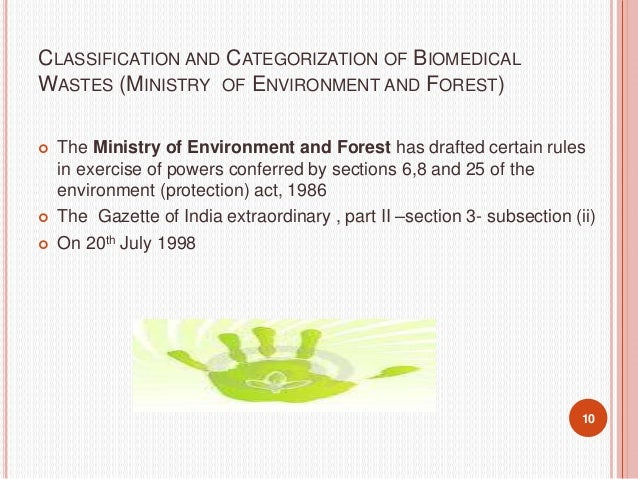11 WASTE CATEGORY TYPE OF WASTE TREATMENT AND DISPOSAL OPTION Category No. 1 Human Anatomical Waste (Human tissues, organs...