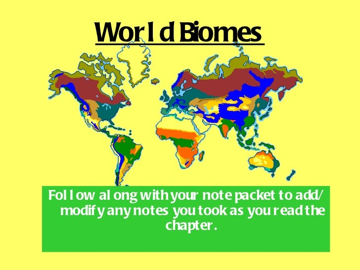 World Biomes <ul><li>Follow along with your note packet to add/modify any notes you took as you read the chapter.   </li><...
