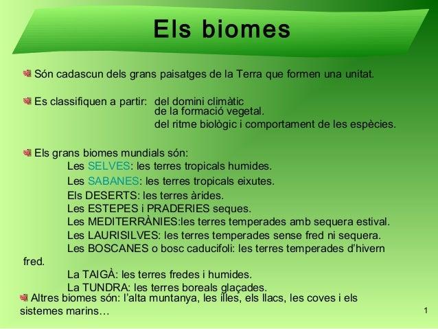 Els biomes  Són cadascun dels grans paisatges de la Terra que formen una unitat.  Es classifiquen a partir: del domini cli...