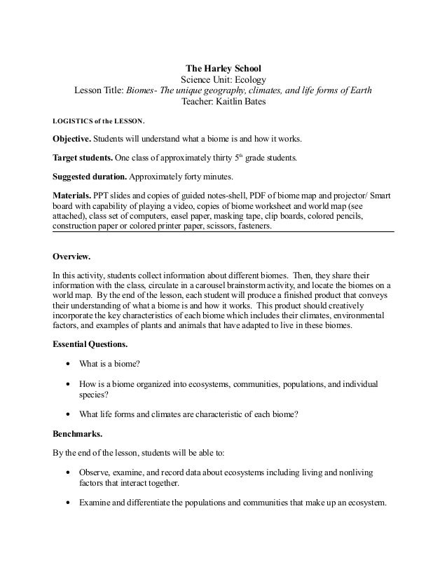 Biomes lessonplan – Biomes of the World Worksheet