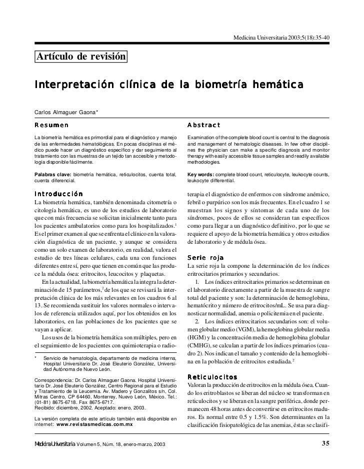 Medicina Universitaria 2003;5(18):35-40Artículo de revisiónInter pr etación clínica de la biometría hemáticaInterpr      p...