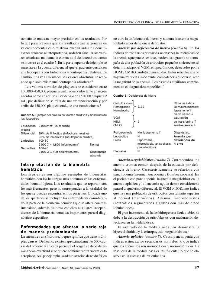 INTERPRETACIÓN CLÍNICA DE LA BIOMETRÍA HEMÁTICAtamaño de muestra, mayor precisión en los resultados. Por             no cu...