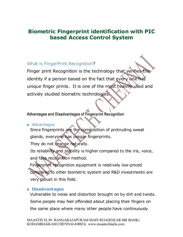 Biometric Fingerprint identification with PIC based Access Control System What is FingerPrint Recognition? Finger print Re...