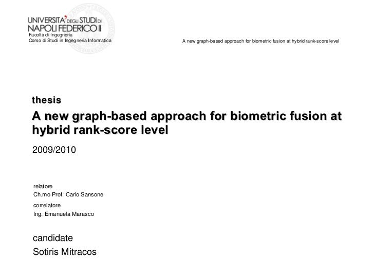 thesis A new graph-based approach for biometric fusion at hybrid rank-score level relatore Ch.mo Prof. Carlo Sansone corre...