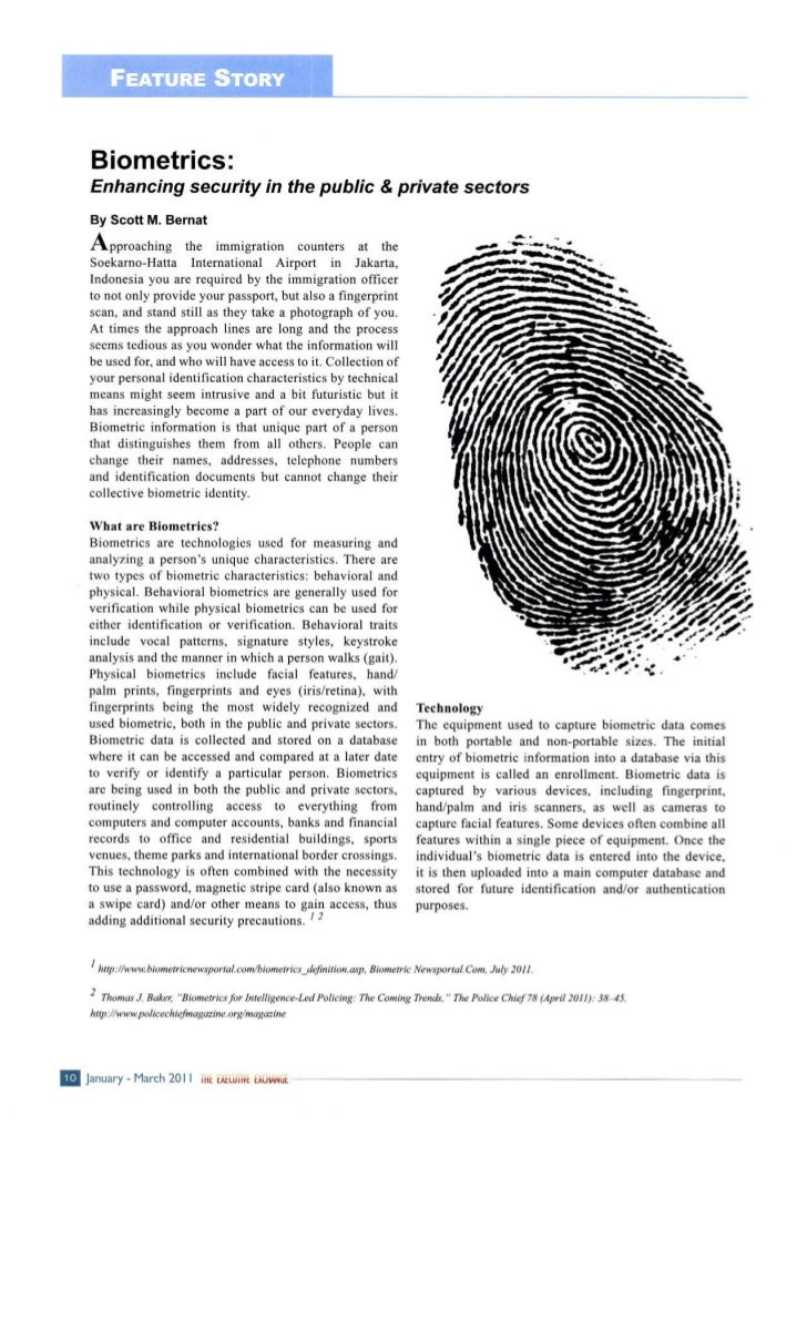 Biometrics - Enhancing Security in the Public and Private Sectors - American Chamber of Commerce Indonesia - The Executive...