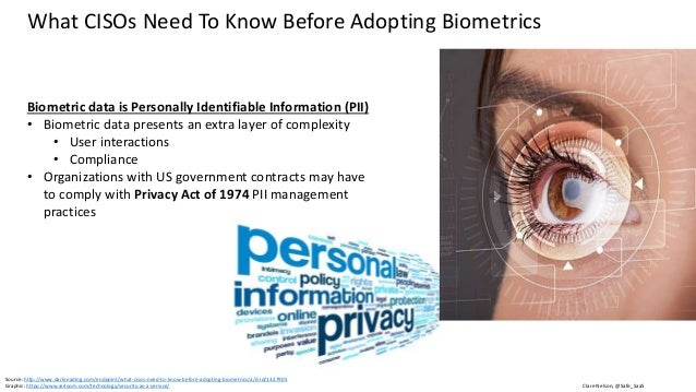 Clare Nelson, @Safe_SaaS What CISOs Need To Know Before Adopting Biometrics Privacy Act of 1974 • Applies to federal agenc...