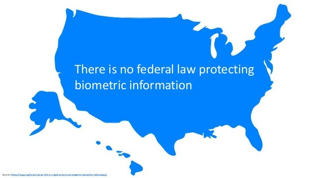 US Biometric Information Protection Laws 2008 Illinois Biometric Information Privacy Act (BIPA) 2009 Texas Texas Business ...