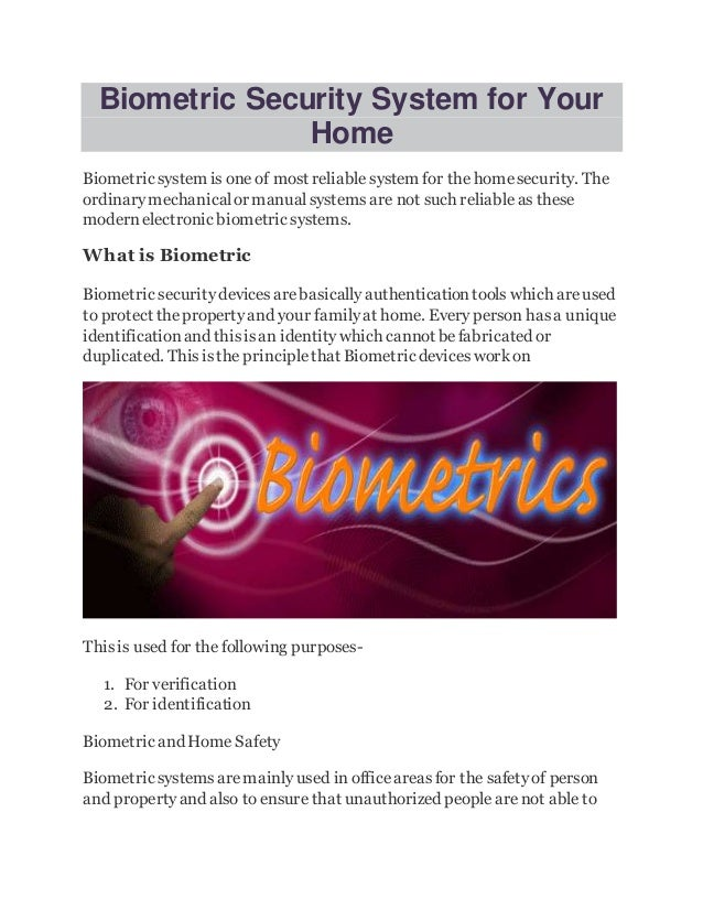 Biometric Security System For Your Home