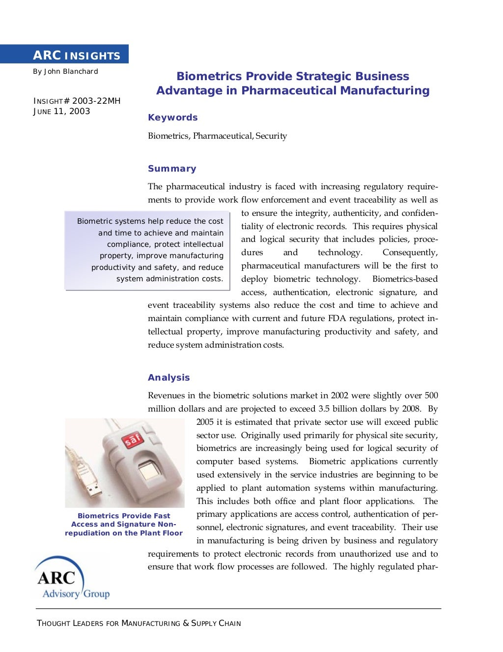 Biometrics Provide Strategic Business Advantage in Pharmaceutical Manufacturing