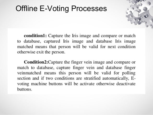 e voting by using biometrics Elections that was based on an advanced e-voting system the voter-recognition  system in the uae fnc elections was based on a smart card with biometrics.
