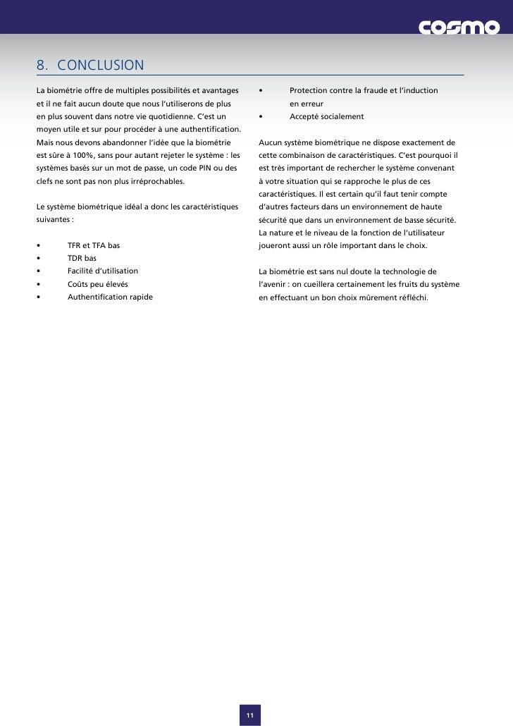 8. CONCLUSION Labiométrieoffredemultiplespossibilitésetavantages         •       Protectioncontrelafraudeetl...