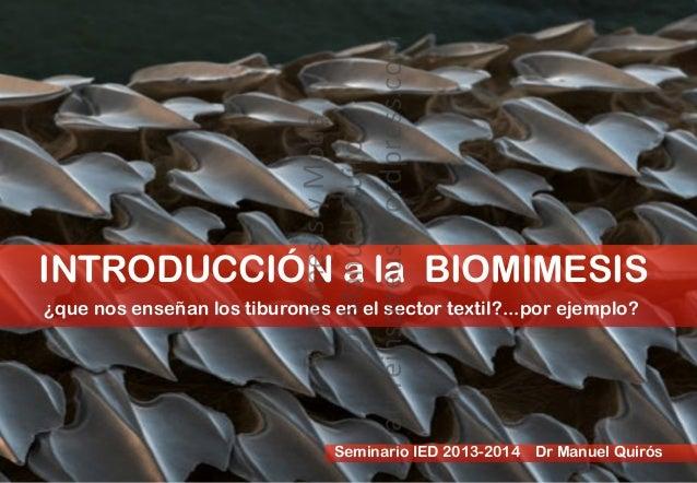 INTRODUCCIÓN a la BIOMIMESIS ¿que nos enseñan los tiburones en el sector textil?...por ejemplo? Seminario IED 2013-2014 Dr...