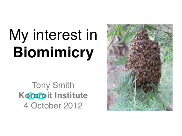 My interest inBiomimicry    Tony Smith Kororoit Institute  4 October 2012