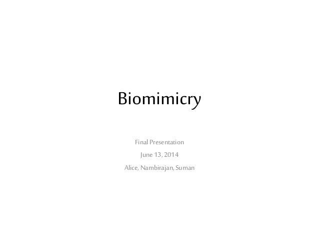 Biomimicry Final Presentation June13, 2014 Alice, Nambirajan,Suman