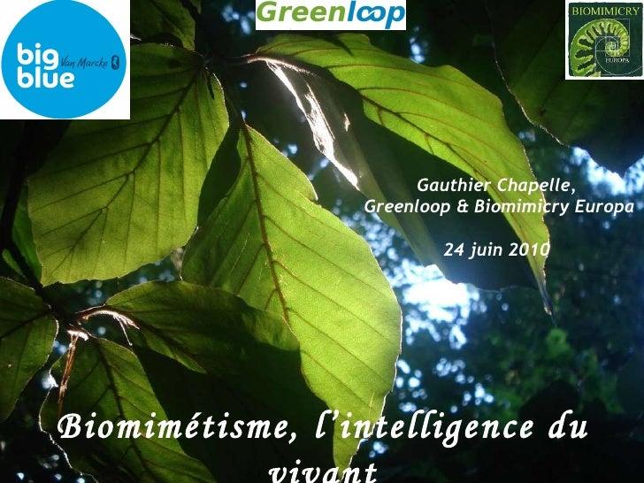 Biomimétisme, l'intelligence du vivant Gauthier Chapelle,  Greenloop & Biomimicry Europa 24 juin 2010