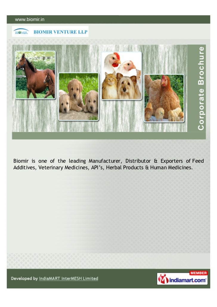 Biomir is one of the leading Manufacturer, Distributor & Exporters of FeedAdditives, Veterinary Medicines, API's, Herbal P...