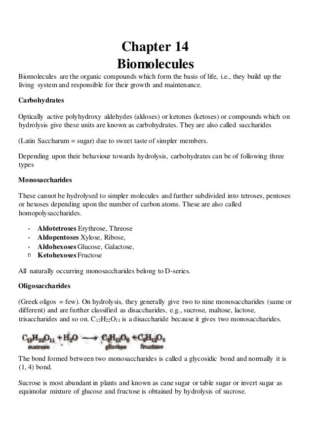 Biomolecules - Class XII notes