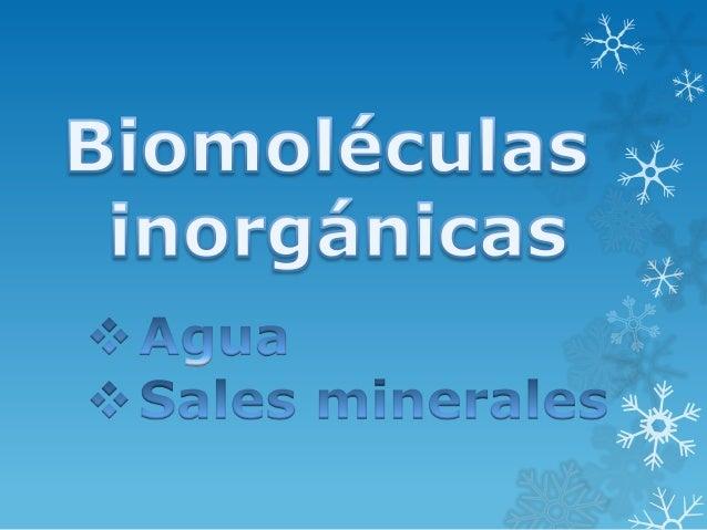 Biomoléculas inorgánicas  Las Biomoléculas inorgánicas son las que no están formadas por cadenas de carbono e hidrógeno, c...