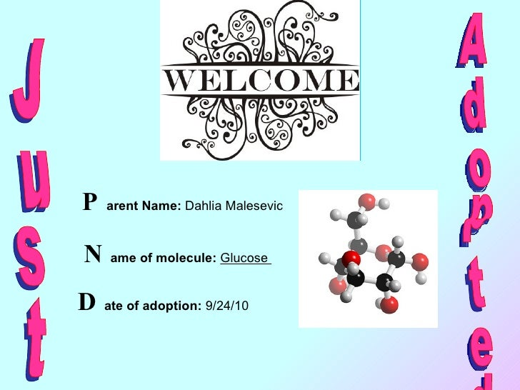 P arent Name:  Dahlia Malesevic  N ame of molecule:   Glucose  D ate of adoption:  9/24/10 Adopted  Just