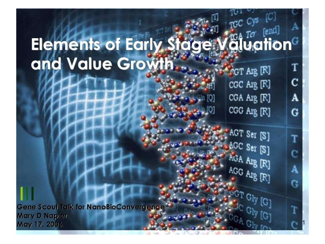 Elements of Early Stage Valuation and Value Growth  Gene Scout Talk for NanoBioConvergence Mary D Napier 3/1/2014 May 17, ...