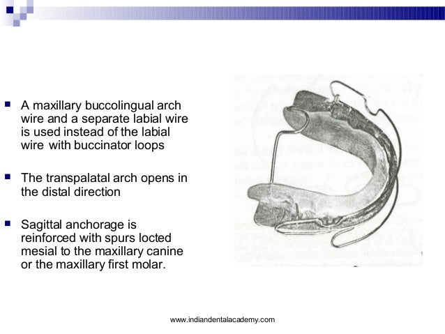   A maxillary buccolingual arch wire and a separate labial wire is used instead of the labial wire with buccinator loops ...