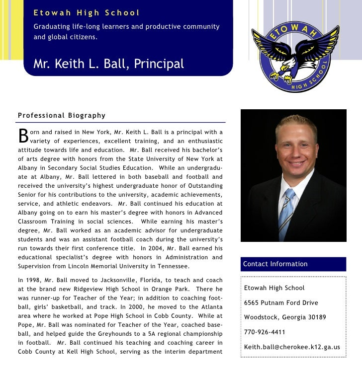Etowah High School      Graduating life-long learners and productive community      and global citizens.      Mr. Keith L....