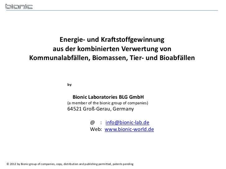 Energie- und Kraftstoffgewinnung                      aus der kombinierten Verwertung von                 Kommunalabfällen...