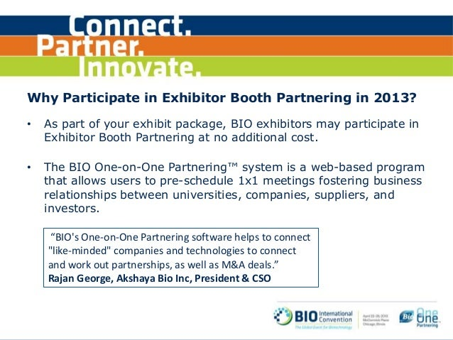 2013 BIO Exhibitor Booth Partnering