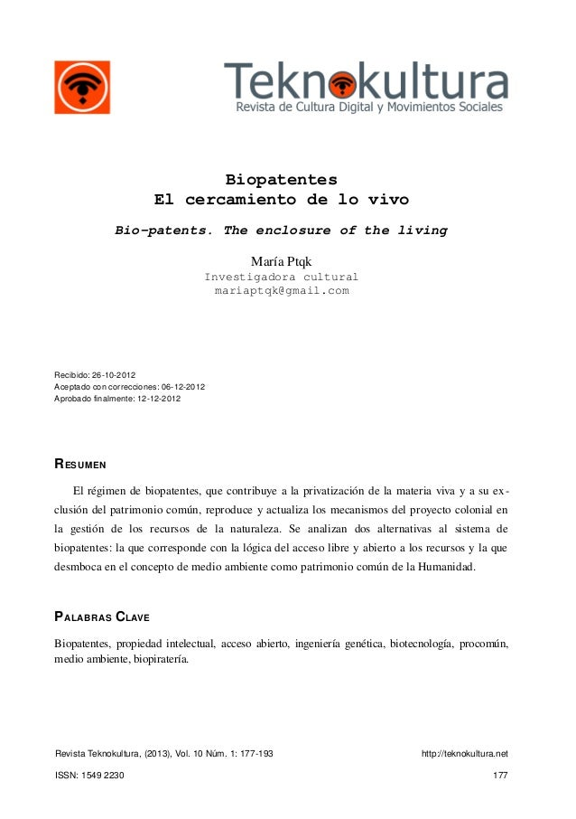 Biopatentes                        El cercamiento de lo vivo              Bio-patents. The enclosure of the living        ...
