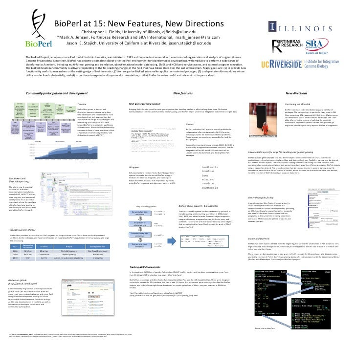 BioPerl at 15: New Features, New Directions Christopher J. Fields, University of Illinois, cjfields@uiuc.edu *Mark A. Jens...