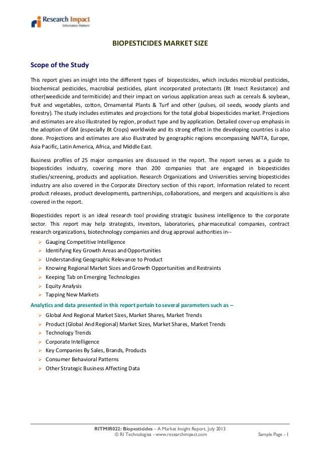 RITMIR022: Biopesticides – A Market Insight Report, July 2013 © RI Technologies - www.researchimpact.com Sample Page - 1 B...