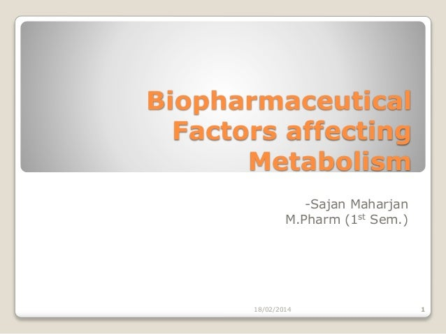 Biopharmaceutical Factors affecting Metabolism -Sajan Maharjan M.Pharm (1st Sem.)  18/02/2014  1