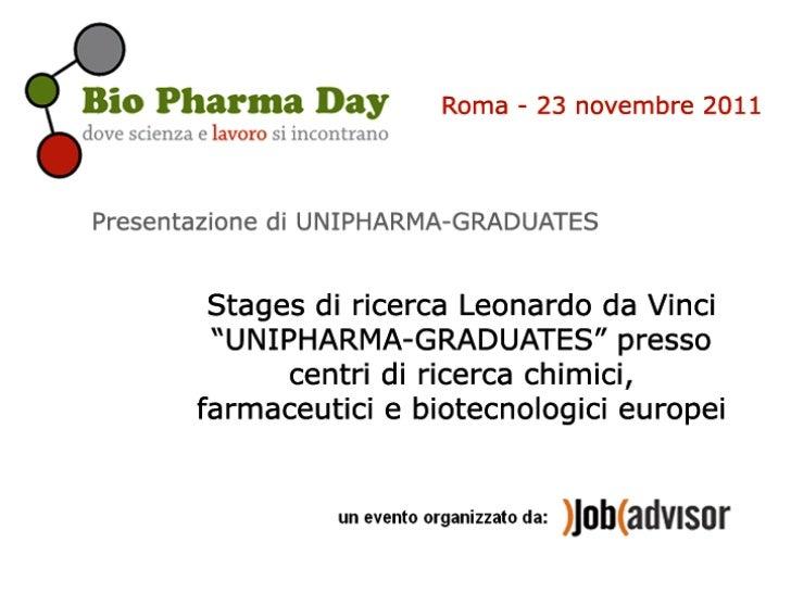 """Stages di ricerca Leonardo da Vinci """"UNIPHARMA-  GRADUATES"""" presso centri di ricerca chimici,      farmaceutici e biotecno..."""