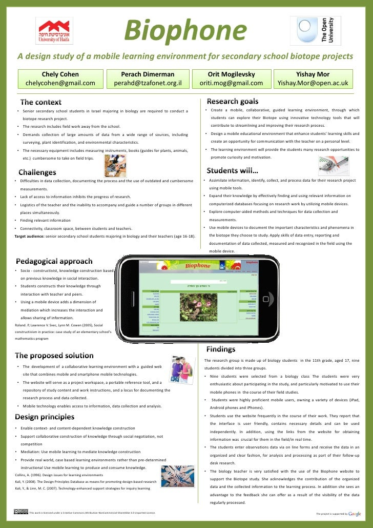 A design study of a mobile learning environment for secondary school biotope projects            Chely Cohen              ...